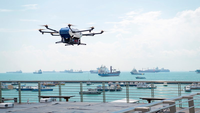 1600x900 Wilhelmsen Agency by Air Project - Airbus Skyways Drone Lifting Off