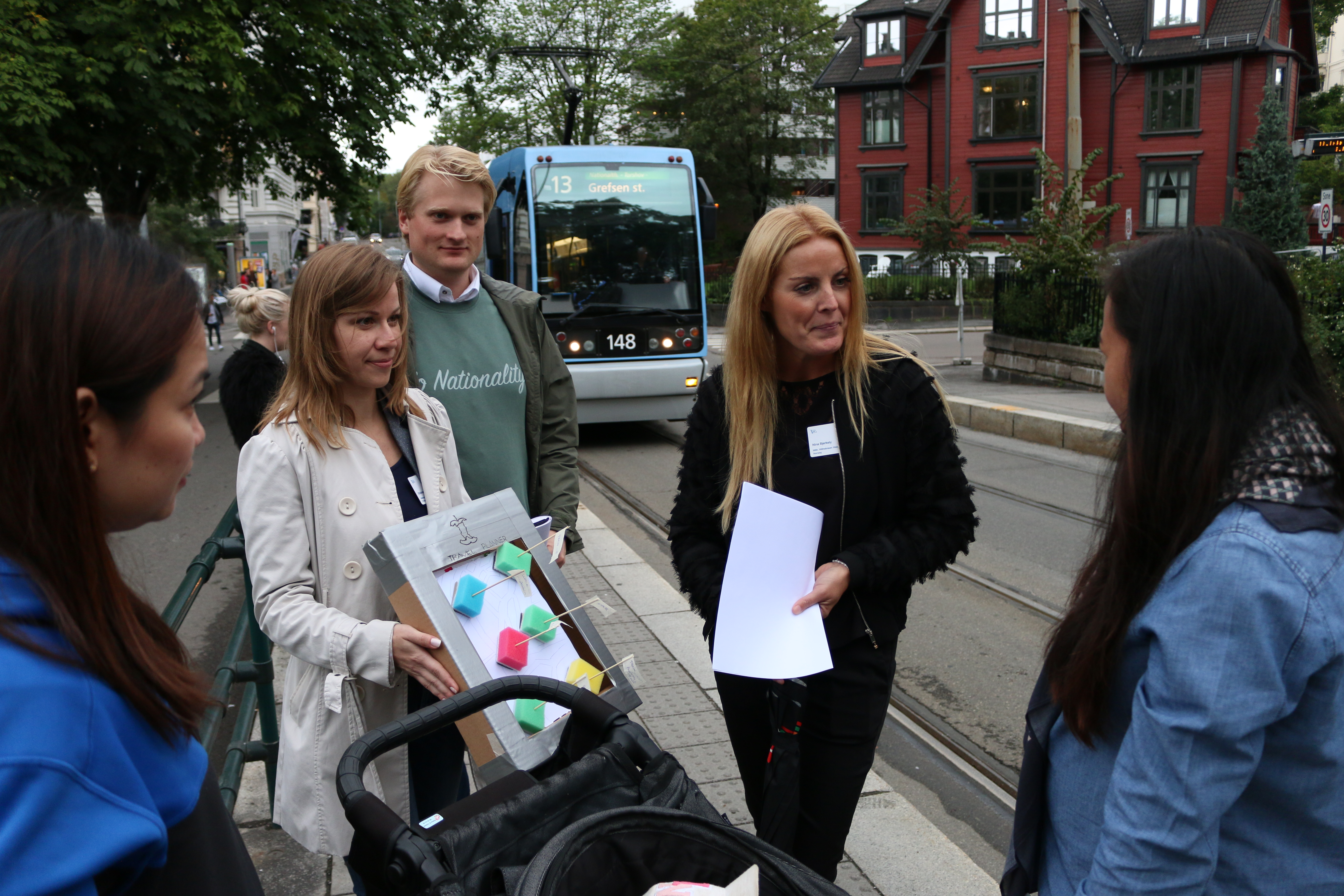 Some of the LePo candidates talking to users of the Oslo public transport system, proposing a solution prototype to test the user experience and sentiment.